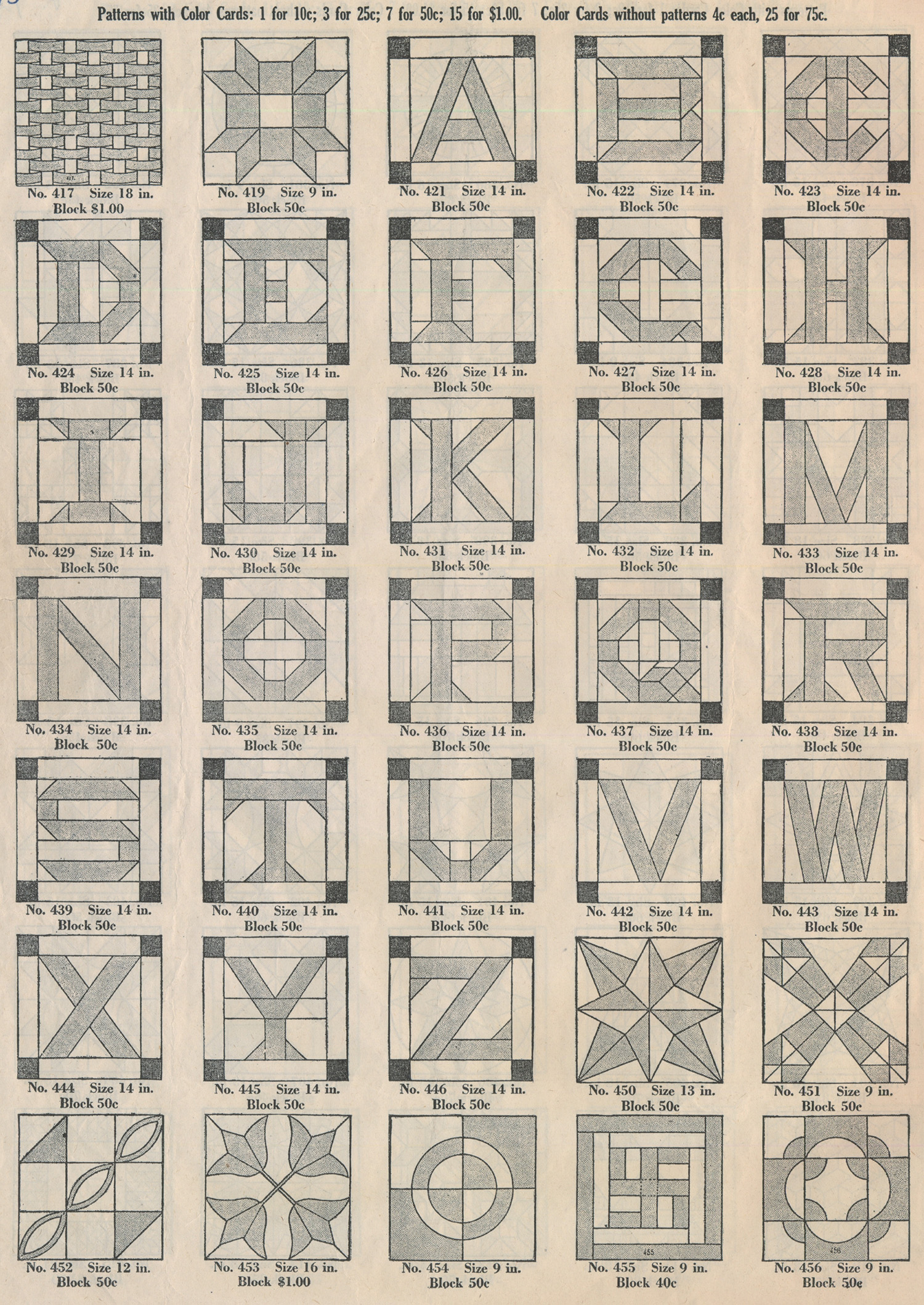 Ladies Art Company Alphabet Patterns World Quilts The